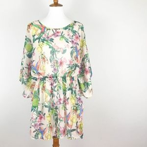 H&M Swimsuit Coverup Medium Drawstring Waist Flora